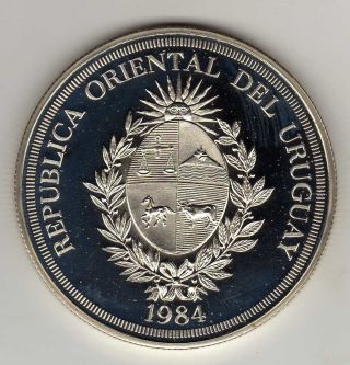 Uruguay 2000 Pesos 1984 Shield,  Silver Unc. photo