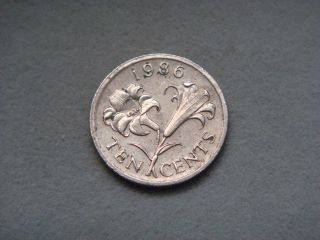 Bermuda 10 Cents,  1986 Coin.  Bermuda Lily photo