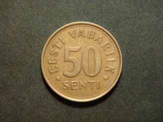 Estonia 50 Senti,  1992 Coin Lions photo