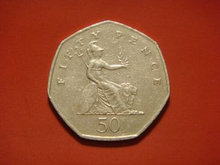 Great Britain 50 Pence,  2004 Coin.  Brittania photo