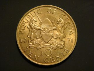Kenya 10 Cents,  1971 Coin.  President Jomo Kenyatts photo
