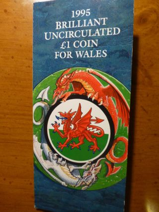 1995 United Kingdom Unc Wales 1 Pound Coin From Royal - Dragon Reverse photo