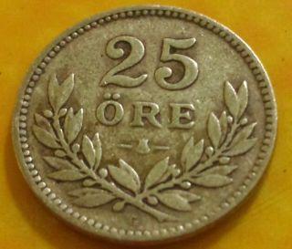 Sweden Silver Coin 25 Twenty Five Silver Ore 1934 photo