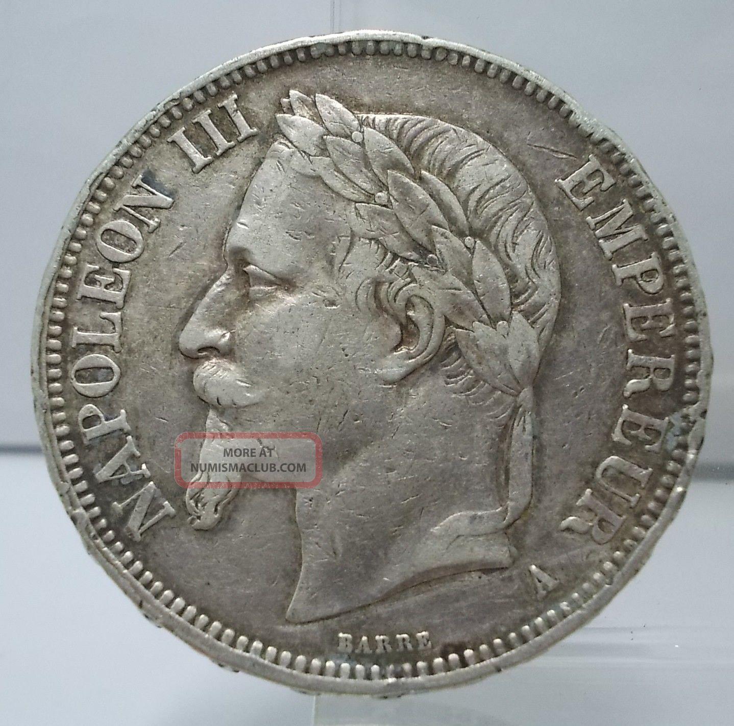 france 1868 a 5 francs large silver coin rare. Black Bedroom Furniture Sets. Home Design Ideas