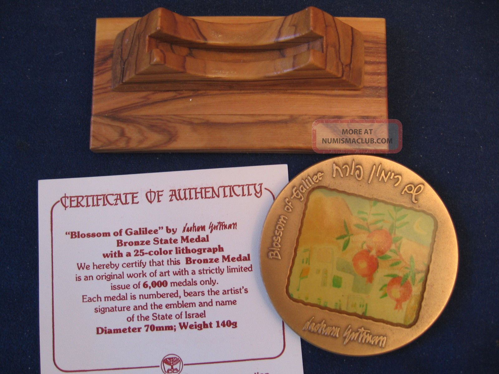 Israel BLOSSOM OF GALILEE State Art Medal by GUTMAN Bronze 70mm 140g BOX COA
