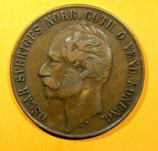 Sweden Bronze Oscar I 1858/7 L.  A.  5 Ore Avf Km 690 photo