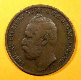 Sweden Bronze Carl Xv Adolf 1864 5 Ore Avf Low Mintage Km 707 photo