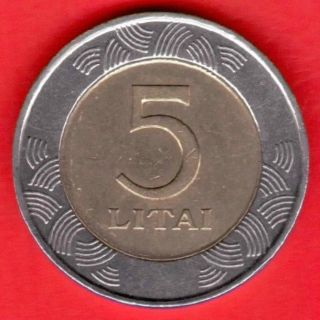5 Litai 1998 Years Lithuania Bi - Metallic photo