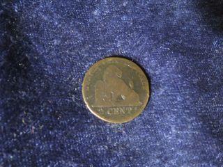 Belgium 1844? Belgie 2 Centimes Antique Belgian Bronze Copper Cents Coin - Flip photo