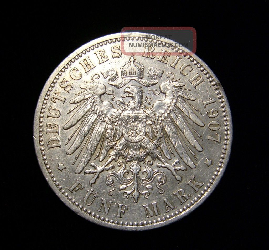 Germany Prussia 1907 A 5 Mark Coin 900 Silver Wilhelm Ii
