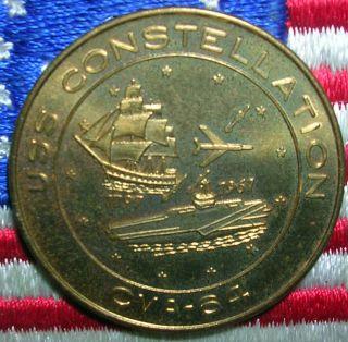 1961 U.  S Navy Carrier Cv - 64 Connie Constellation & War Ship Coin Medal Token Bu photo