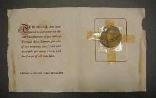 Thomas A.  Edison Centennial,  West Orange Jersey (card & Envelope) photo