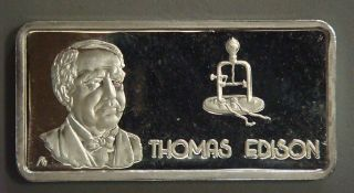 Silver Bar - Thomas Edison,  Our Greatest Americans,  One Troy Ounce. . . photo