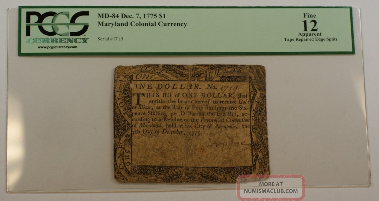 Dec.  7 1775 $1 Maryland Colonial Currency Note Pcgs Fine - 12 Apparent Md - 84 Paper Money: US photo