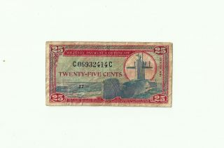 Military Payment Certificate 25 Cents Series 681 1969 Series photo
