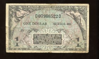 Us Mpc Military Payment Certificate Series 481 $1.  00 19 D07986522d Condit. photo