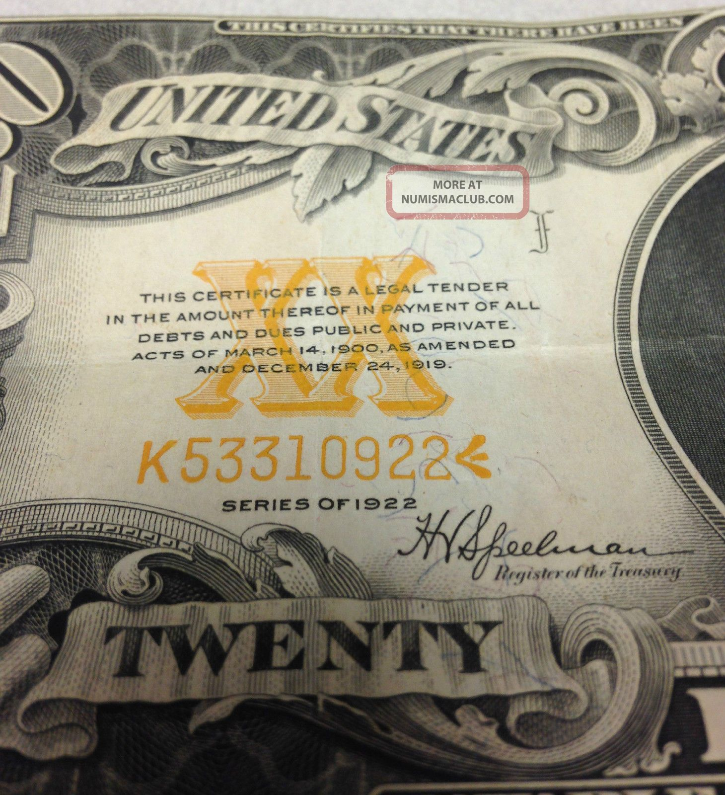 Large 1922 20 Dollar Bill Gold Certificate Coin Note Old Paper Money Currency