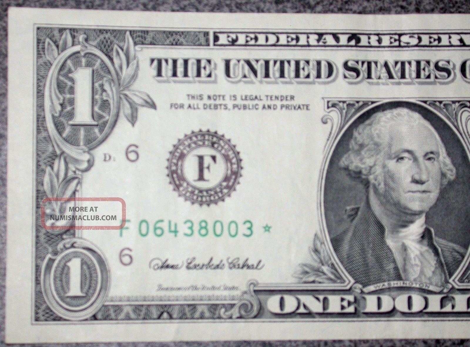2003 A Ch Au Star Note Error 1 Dollar Bill Us Federal