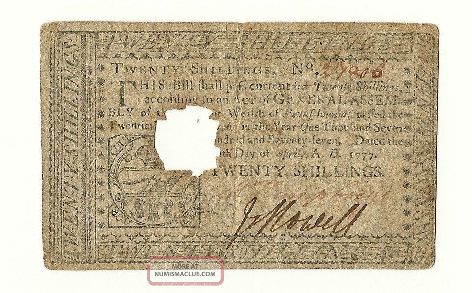 Us 1777 Continental Currency Twenty Shillings Philadelphia,  Pa April,  1777 Paper Money: US photo
