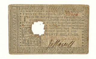 Us 1777 Continental Currency Twenty Shillings Philadelphia,  Pa April,  1777 photo