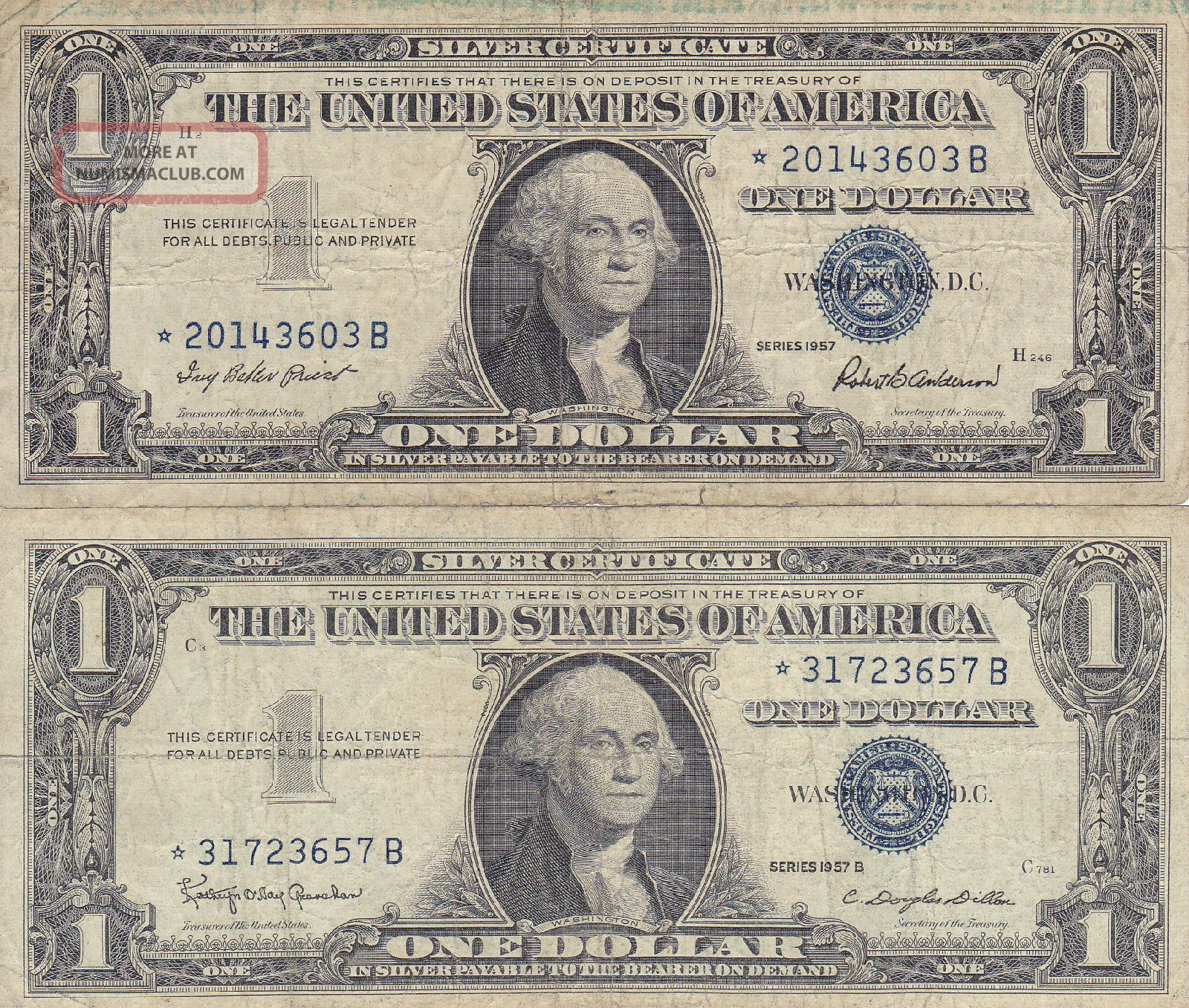 1957 Ae Silver Certificate Blue Seal Old Us Currency 1 Very Nice