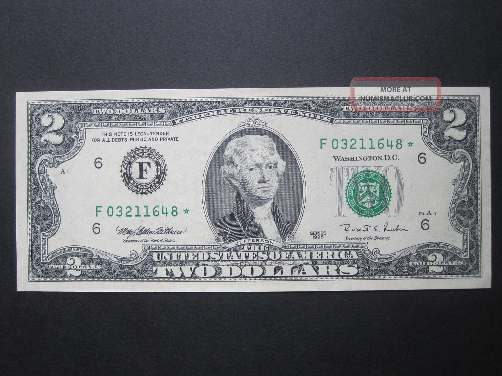 Old Money Notes 1995 $2 Star Note Bill Old