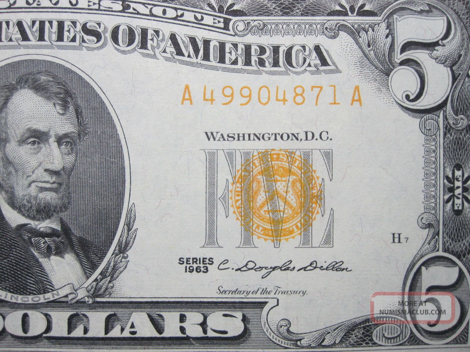 $5 1963 FIVE Dollar Red Seal United States Legal Tender Note Currency Money Bill