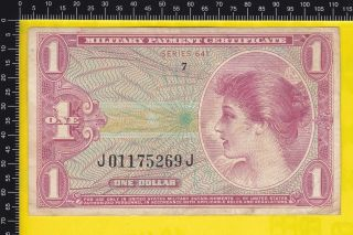 Military Payment Certificate 1 Dollar Series 641 Note Mpc 1965 Vf++ photo