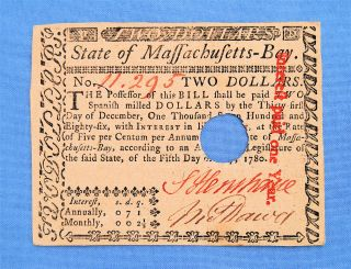 Massachusetts 1780 Colonial Currency photo