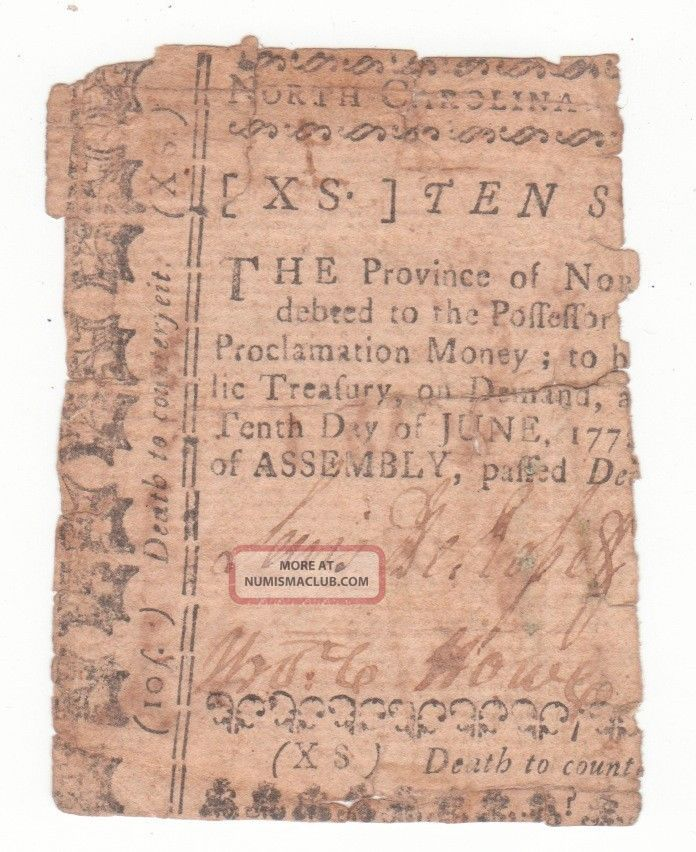 North Carolina Ten Shillings Dec 1768 Canceled James Hasell Paper Money: US photo