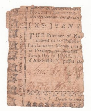 North Carolina Ten Shillings Dec 1768 Canceled James Hasell photo