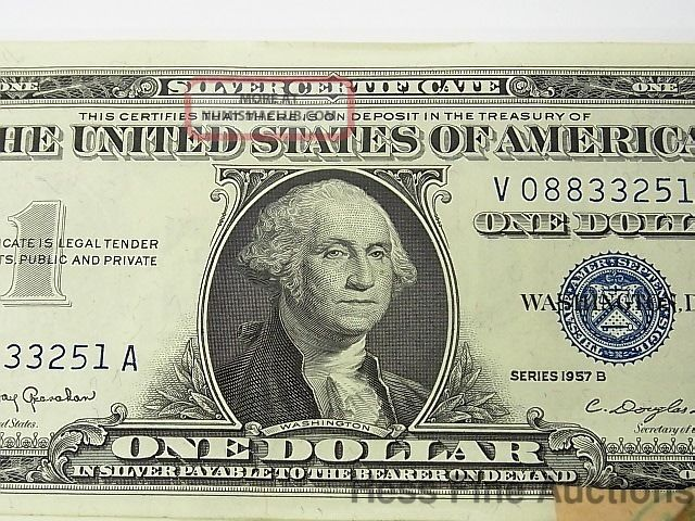 1957 B Uncirculated 50 One Dollar Bill Silver Certificate Star Note ...
