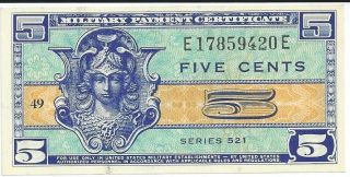 Mpc Series 521 Military Payment Certificate 05 Cents Chcu 1954 Currency 420e photo