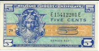 Mpc Series 521 Military Payment Certificate 05 Cents Chau 1954 Currency 201e photo