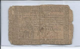 1777 8 Shillings Pennsylvania Colonial Note photo