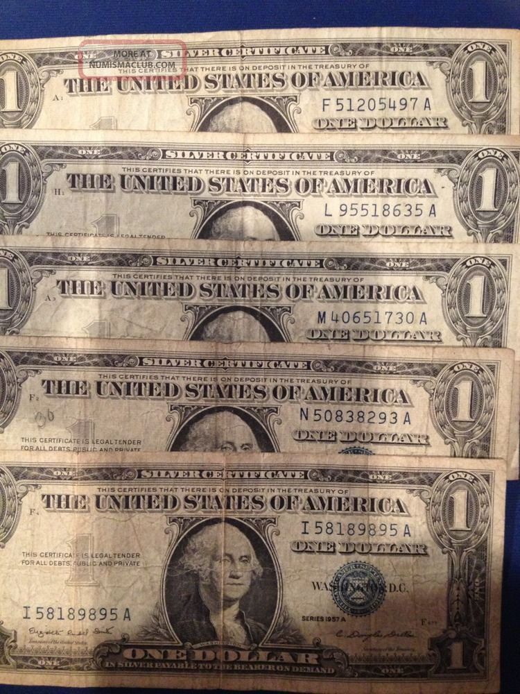 1957a One Dollar 1 Bill Blue Seal Silver Certificate 1 Well