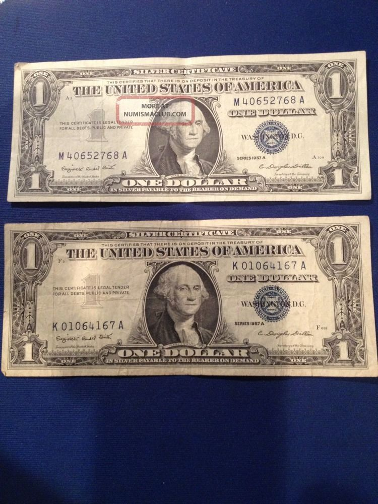 1957b Silver Certificate Dollar Bill Blue Seal Value House For