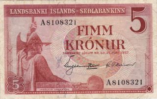 Iceland (landsbanki Islands) : 5 Kronur,  (21 - 6 - 1957),  P - 37b photo