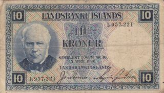 Iceland (lanbanki Islands) : 10 Kronur,  (15 - 4 - 1928),  P - 28a,  Sign.  1 (no Prefix) photo