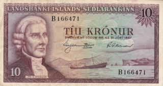Iceland (sedlanbanki Islands) : 10 Kronur,  (21 - 6 - 1957),  P - 38a (error Note) photo