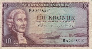 Iceland (sedlanbanki Islands) : 10 Kronur,  (21 - 6 - 1957),  P - 38b (corrected Note) photo