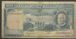 Angola $1000 Escudos P.  97 (vg+) From 1962. photo