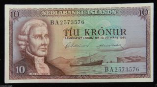 Iceland Paper Money 10 Kronur 1961 Ba2573576 photo