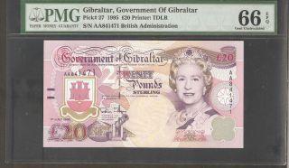 1995 Gibraltar 20 Pounds Pmg 66 Epq Pick 27 S/n Aa841471 photo