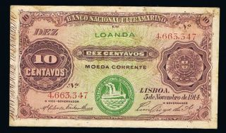 10 Centavos 1914 Angola Banknote P40 Very Fine Seal Iii 4663347 photo