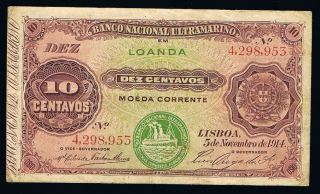 10 Centavos 1914 Angola Banknote P40 Fine++ Seal Iii 4298953 photo