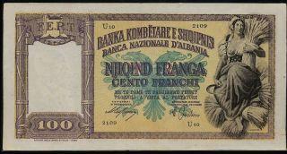 Albania 100 Franga Nd (1940),  P.  8_xf photo