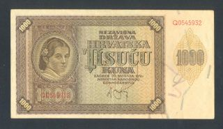 Croatia 1000 Kuna 1941 Vf/xf P4 Wwii Ndh Ustasha photo