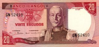 Banco De Angola Angola 20 Escudos 1972 Choice Unc photo