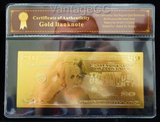 24k Gold $20 Dollar Bank Note Banknote Bill,  Certificate Of Authenticity photo